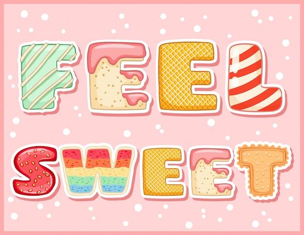 Poczuj słodką słodką zabawną pocztówkę. kusząca ulotka z napisem Premium Wektorów