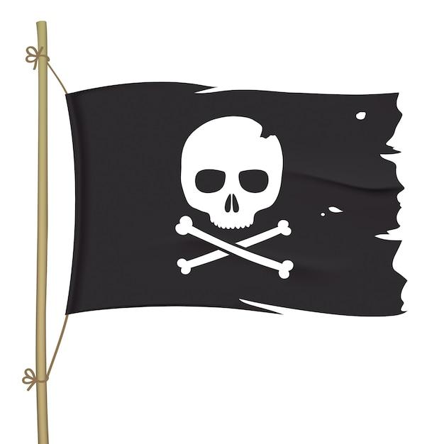 Podarta Piracka Flaga Z Białą Czaszką. Macha Czarną Flagą Z Piszczelami. Premium Wektorów