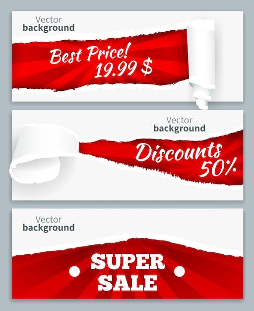 Podarte Papierowe Loki Ujawniające Obniżone Ceny Super Sprzedaży Na Czerwonym Tle Zestaw Realistycznych Poziomych Banerów Darmowych Wektorów