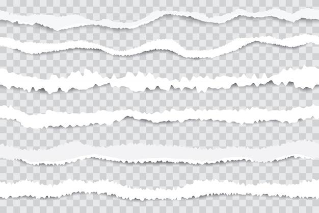 Podarte Paski Papieru. Bezszwowe Krawędzie Zgrywanie Papieru, Złamany Biały Karton Na Przezroczystym Tle. Realistyczna Ilustracja Premium Wektorów