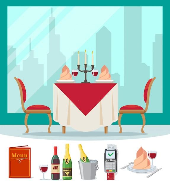 Podawany Stół W Restauracji W Kawiarni W Stylu Mieszkania. Premium Wektorów