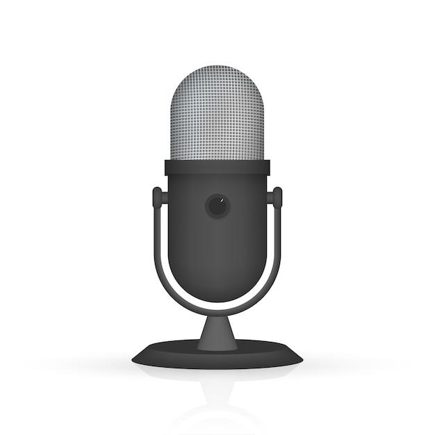 Podcast. Mikrofon Z Ikonami Dymka. Ilustracja. Premium Wektorów