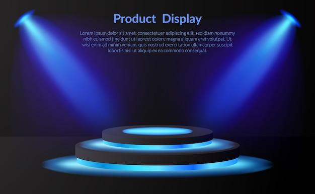 Podium Do Ekspozycji Produktów Wystawowych Z Lampą Neonową I Reflektorem Oraz Ciemnym Tłem Premium Wektorów