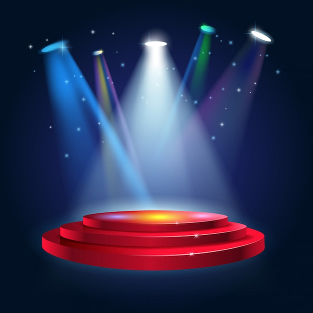 Podium Sceniczne Z Oświetleniem Premium Wektorów