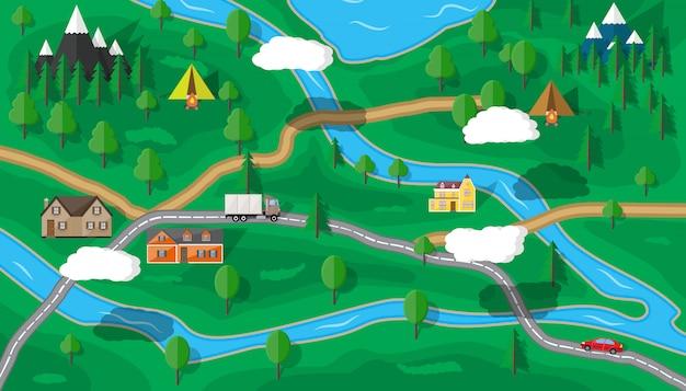 Podmiejska Mapa Przyrody Premium Wektorów