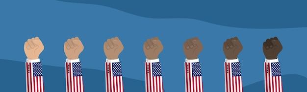 Podniesiona Amerykańska Flaga Usa Ilustracja Pięść Premium Wektorów