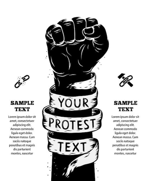 Podniesiona Pięść Trzymana W Plakacie Protestacyjnym Premium Wektorów