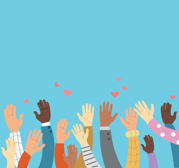 Podniesione ręce na ochotnika Premium Wektorów