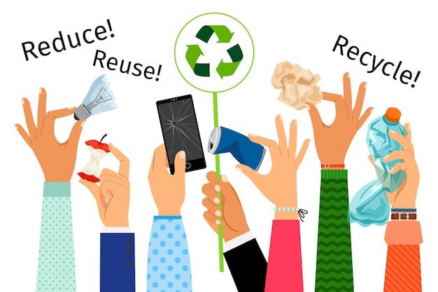 Podniesione ręce z kosza i znak recyklingu Premium Wektorów