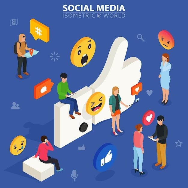Podoba Mi Się Ilustracja Koncepcyjna Młodych Ludzi Korzystających Z Gadżetów Mobilnych Premium Wektorów