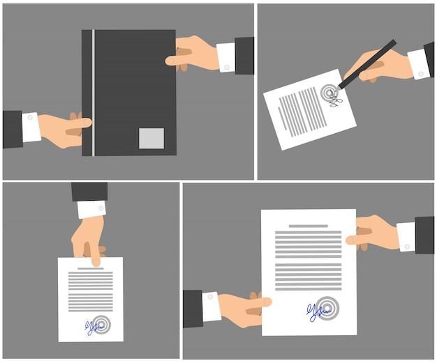 Podpisanie umowy etapy kolekcja zdjęć na gray Premium Wektorów