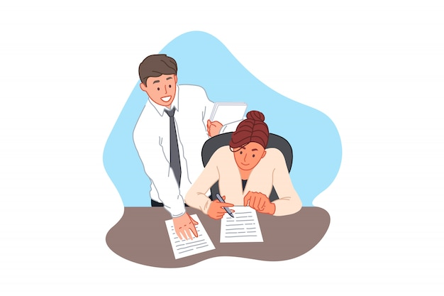 Podpisanie Umowy, Umowa, Formalności Biurowe, Biznes I Finanse Koncepcja Premium Wektorów