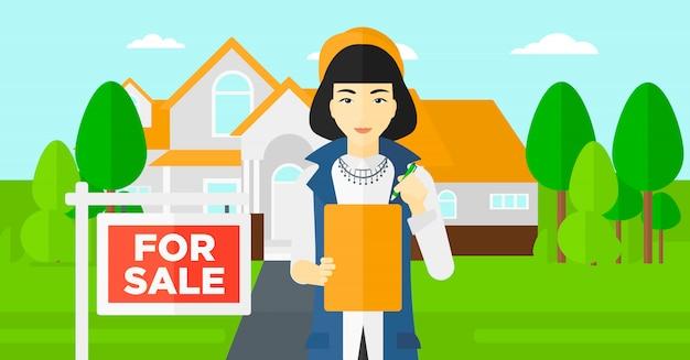 Podpisanie umowy z agentem nieruchomości. Premium Wektorów
