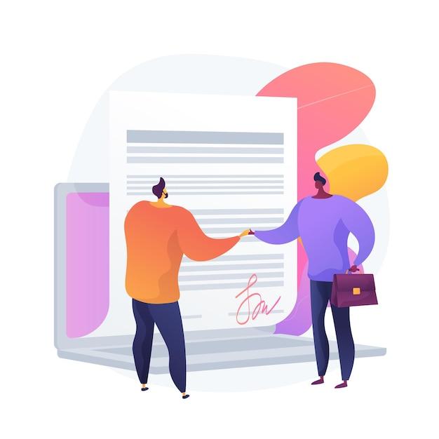 Podpisywanie Umów Cyfrowych. Dokument Online, Podpisanie Umowy, Skomputeryzowana Umowa Biznesowa. Przedsiębiorca, Partnerzy Korzystający Z Podpisu Elektronicznego. Ilustracja Wektorowa Na Białym Tle Koncepcja Metafora Darmowych Wektorów