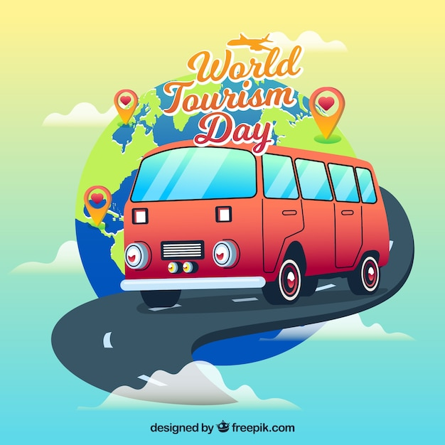Podróż autobusowa, dzień turystyki światowej Darmowych Wektorów
