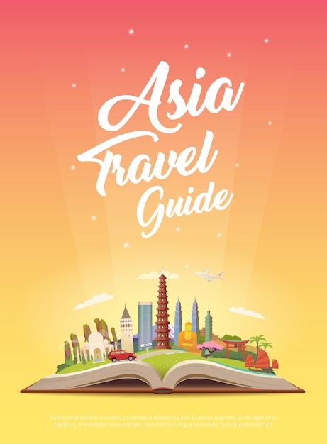Podróż Do Azji. Podróż Samochodem. Premium Wektorów