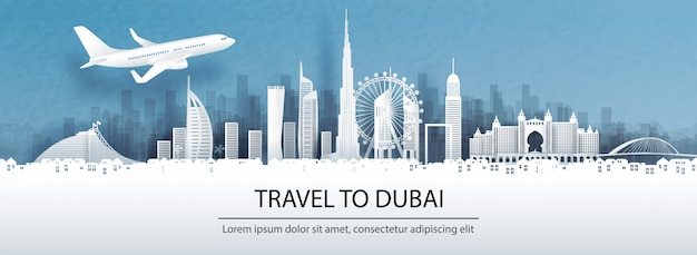 Podróż Do Dubaju Ze Słynnym Zabytkiem. Premium Wektorów
