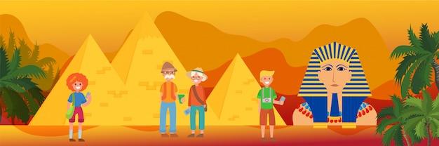 Podróż Do Egiptu, Symbol Orientacyjny I Symbol Faraona, Ilustracja Piramidy Cheopsa. Rodzina Lub Grupa Turystów Przed Egipskimi Zabytkami. Premium Wektorów