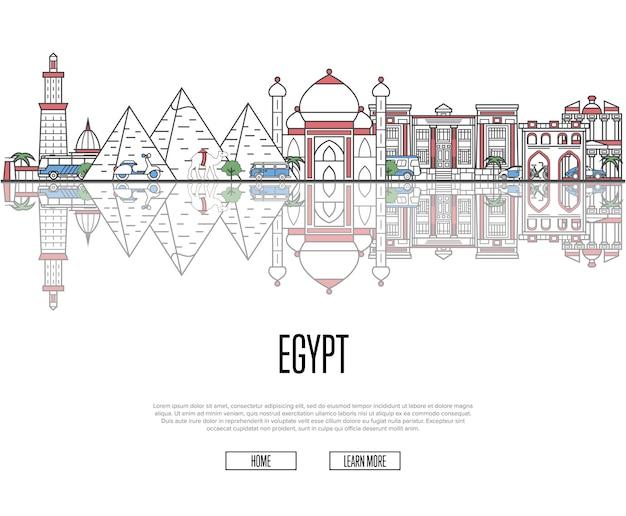 Podróż Do Egiptu Szablon Sieci W Stylu Liniowym Premium Wektorów