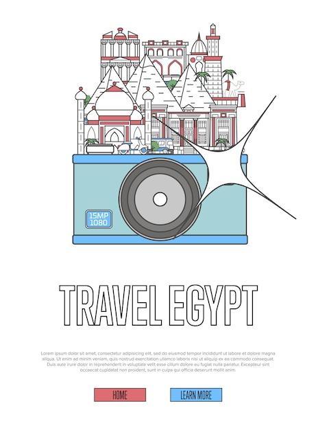 Podróż Do Egiptu Szablon Sieci Web Z Aparatem Premium Wektorów