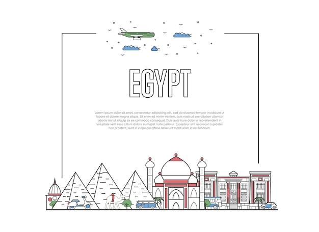 Podróż Do Egiptu W Stylu Liniowym Premium Wektorów