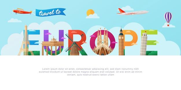 Podróż do europy napis typografia Premium Wektorów