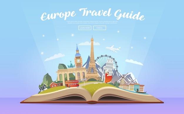 Podróż Do Europy Podróż Samochodem. Premium Wektorów