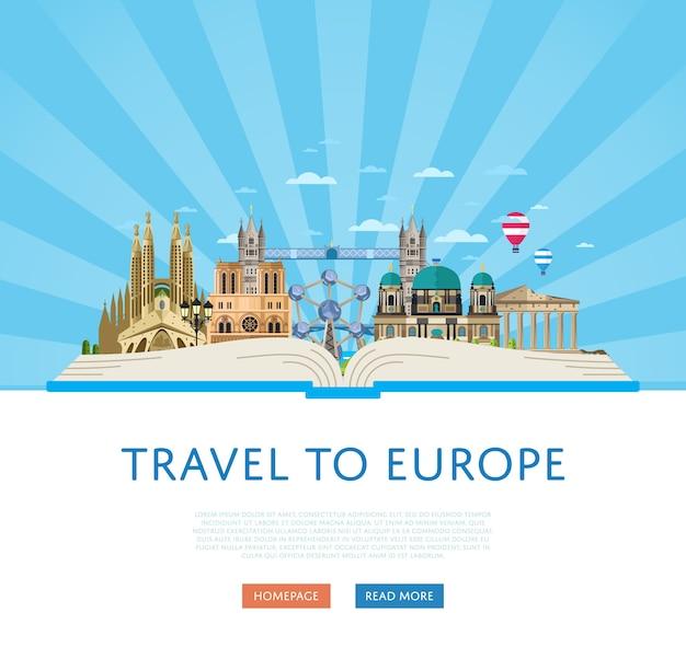 Podróż do europy szablon ze słynnymi atrakcjami. Premium Wektorów