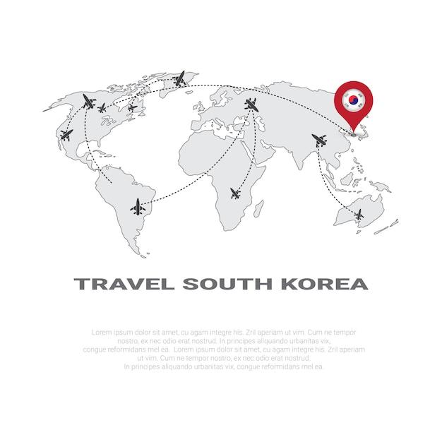 Podróż do korei południowej plakat mapa świata tło turystyka destination concept plakat Premium Wektorów