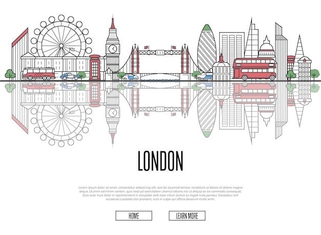 Podróż do londynu plakat w stylu liniowym Premium Wektorów