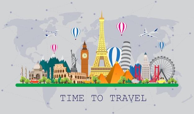 Podróż Do świata. Podróż Samochodem. Duży Zestaw Znanych Zabytków świata. Czas Podróży, Turystyki, Wakacji. Premium Wektorów