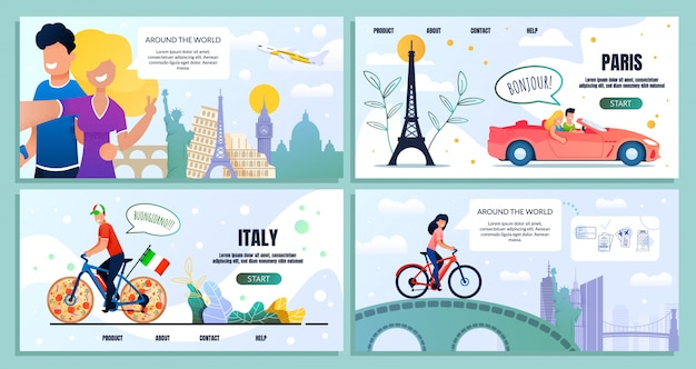 Podróż dookoła świata strona docelowa pakietu Premium Wektorów