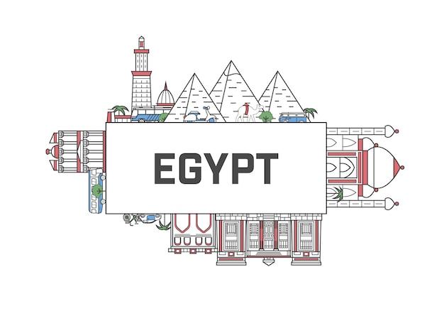 Podróż Egipt Napis W Stylu Liniowym Premium Wektorów