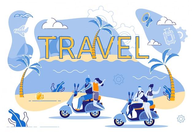 Podróż motocyklem wzdłuż wybrzeża egzotycznej wyspy Premium Wektorów