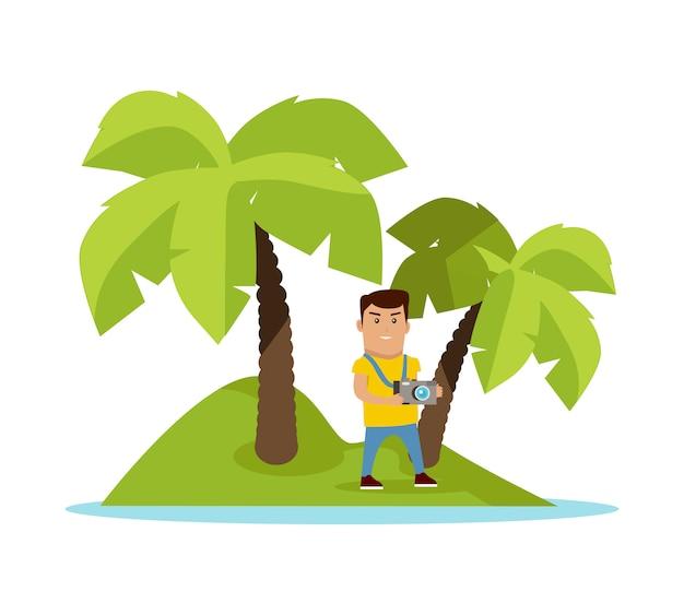 Podróż na ilustracji wektorowych koncepcja tropików Premium Wektorów