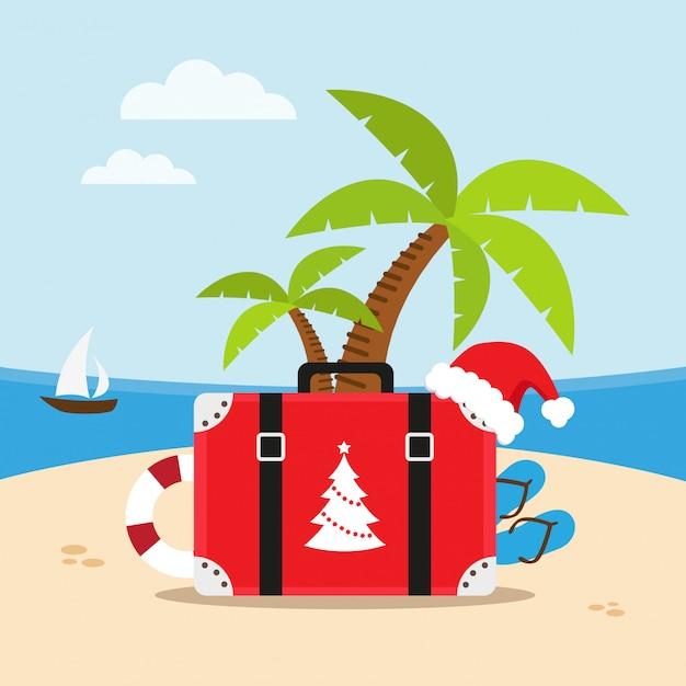 Podróż na plażę w święta bożego narodzenia Premium Wektorów
