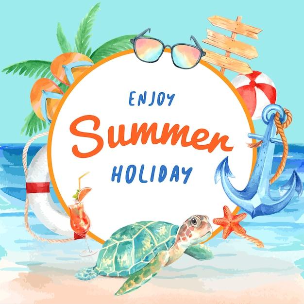 Podróż na wakacje latem na plaży wianek na ramie drzewa palmowego Darmowych Wektorów