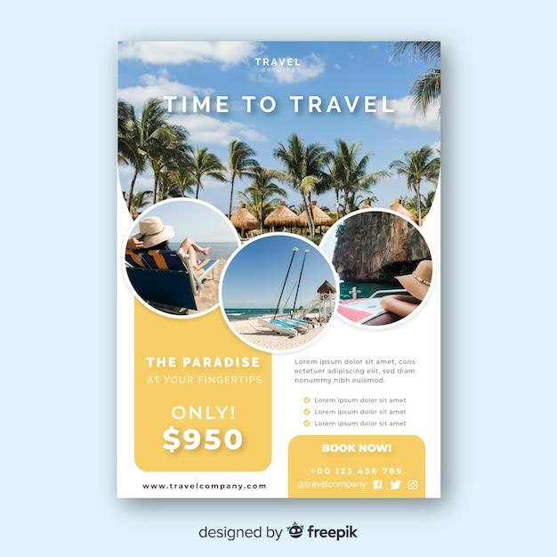 Podróż Plakat Szablon Ze Zdjęciem Premium Wektorów