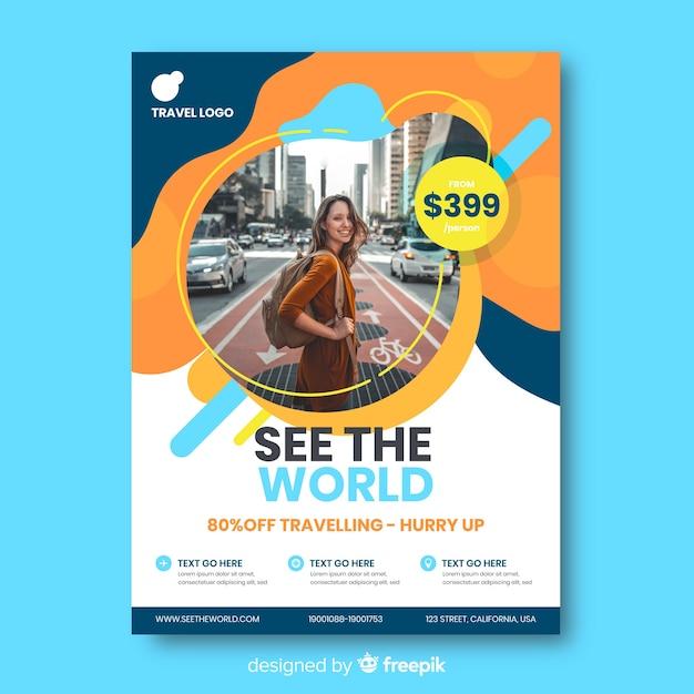 Podróż plakat szablon ze zdjęciem Darmowych Wektorów