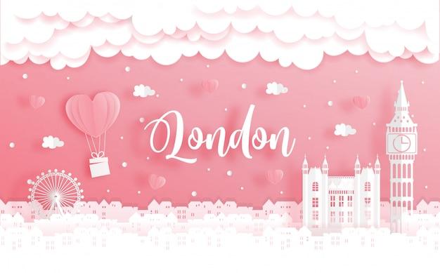 Podróż poślubna i koncepcja walentynki z podróży do londynu, anglia Premium Wektorów