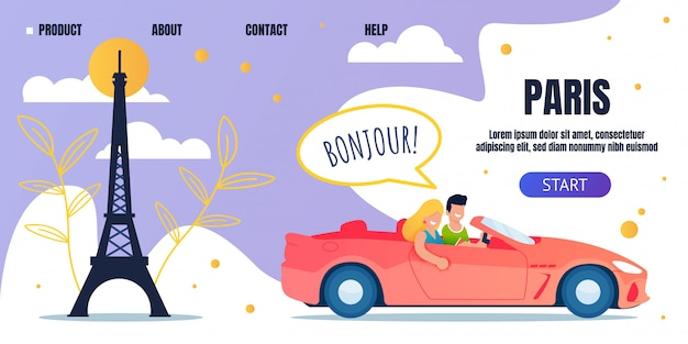Podróż Samochodem Podróż Do Paryża Strona Docelowa Reklamy Premium Wektorów