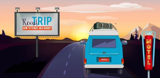 Podróż Samochodem. Przygoda Na Drodze W Samochodowym Wakacje Wakacyjnym Miastowym Krajobrazowym Tle Premium Wektorów