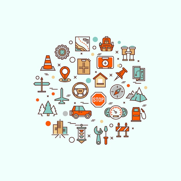 Podróż Samolotem, Wakacje W Ośrodku, Planowanie Wycieczki, Wypoczynek Rekreacyjny, Wakacyjna Wycieczka Linii Płaskich Symboli. Piktogram Logo Nowoczesny Plansza Premium Wektorów