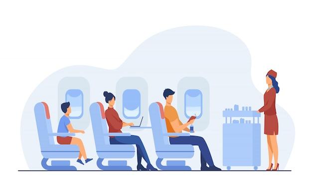 Podróż Samolotem Z Komfortu Mieszkania Ilustracją Darmowych Wektorów