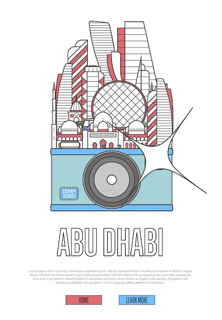 Podróż Szablon Abu Zabi Z Aparatem Premium Wektorów