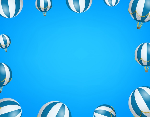 Podróż Tapety Z Balonami. Rama Z Miejsca Na Kopię Premium Wektorów