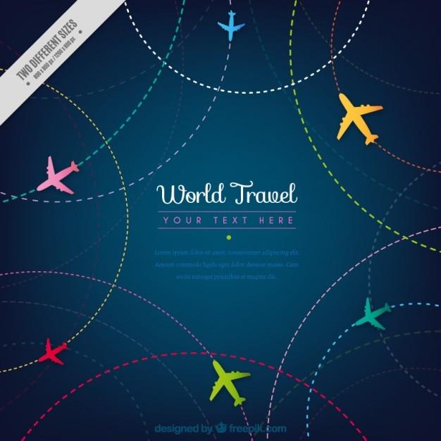 Podróż Tła Z Kolorowych Samolotów Darmowych Wektorów