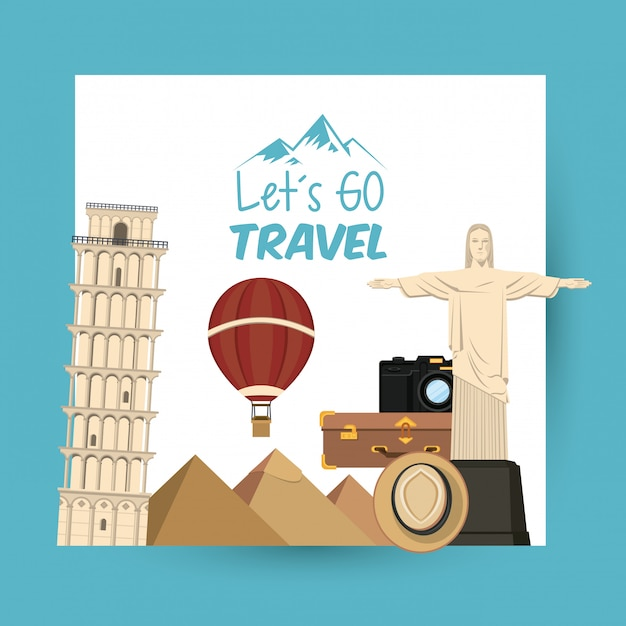 Podróże i miejsca turystyczne Darmowych Wektorów