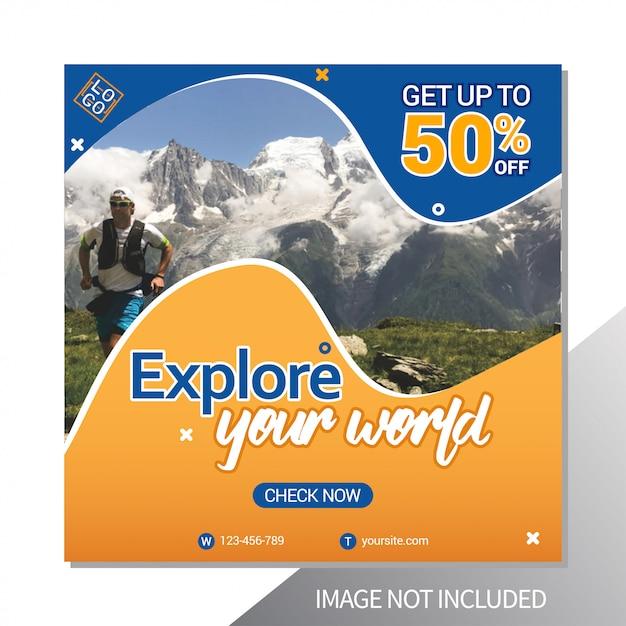 Podróże wycieczki szablon postu na instagramie Premium Wektorów