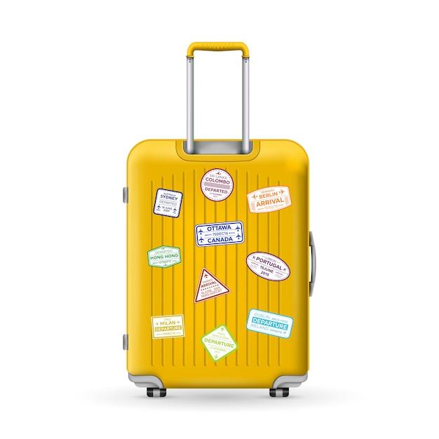 Podróżna walizka z poliwęglanu, bagaż. Premium Wektorów